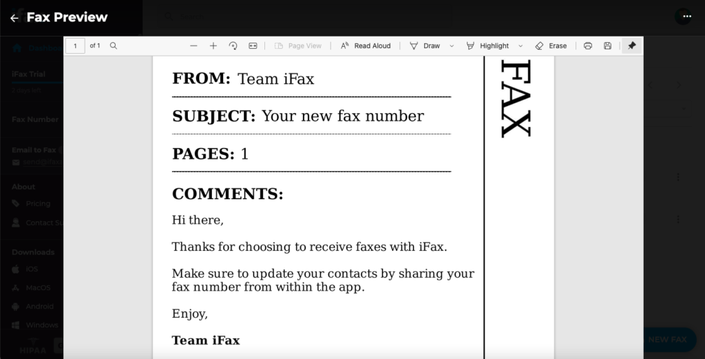 receive fax from ifax